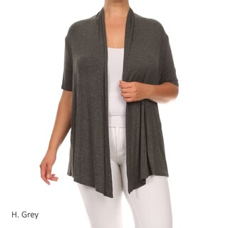 Women's Rayon Blend Plus Size Solid Cardigan