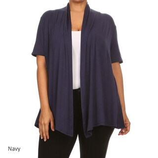 Women's Rayon Blend Plus Size Solid Cardigan (More options available)