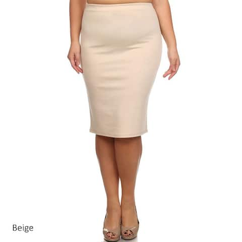 Women's Solid Polyester/Spandex Pencil Skirt