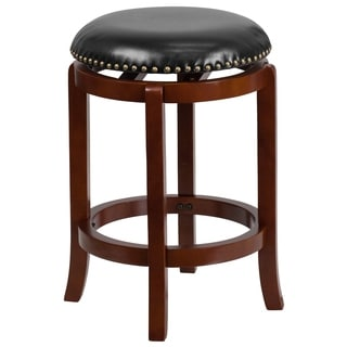 24-inch Backless Light Wood Counter Height Stool with Black Leather Swivel Seat