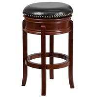 29-inch Backless Light Wood Barstool with Black Leather Swivel Seat