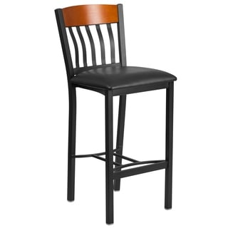 Eclipse Series Vertical Back Metal and Wood Restaurant Barstool with Vinyl Seat