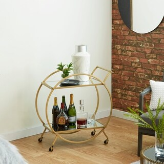 Contemporary 30 x 27 Inch Round Iron and Glass Gold Cart by Studio 350