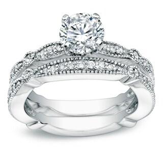Auriya Platinum 1ct TDW Round Cut Diamond Bridal Ring Set (H-I, SI1-SI2)