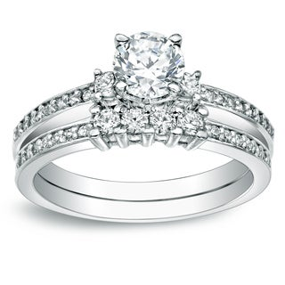 Auriya Platinum 1 1/3ct TDW Certified Round Cut Diamond Bridal Ring Set
