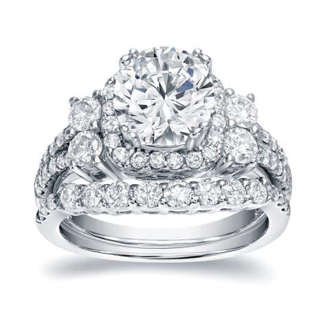 Auriya Platinum 2 1/3ctw Halo Diamond Engagement Ring Set Certified