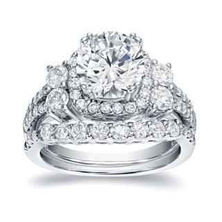 Auriya Platinum 2 1/3ct TDW Certified Round Cut Diamond Bridal Halo Ring Set