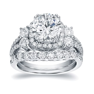 auriya platinum 2 13ct tdw certified round cut diamond bridal halo ring set - Platinum Wedding Ring Sets