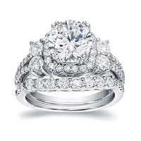 Auriya Platinum 2 1/3ct TDW Certified Round Diamond Halo Engagement Ring Bridal Set