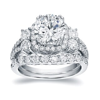 Auriya Platinum 2 1/3ct TDW Certified Round Diamond 5-Stone Halo Engagement Ring Bridal Set