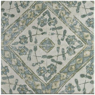 "SomerTile Klinker Retro Blanco Bergenia Encaustic 12.75"" x 12.75"" Ceramic Floor and Wall Quarry Tile"