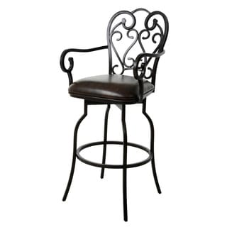 Magnolia Bronze Steel and Faux Leather 26-inch Swivel Stool With Arms