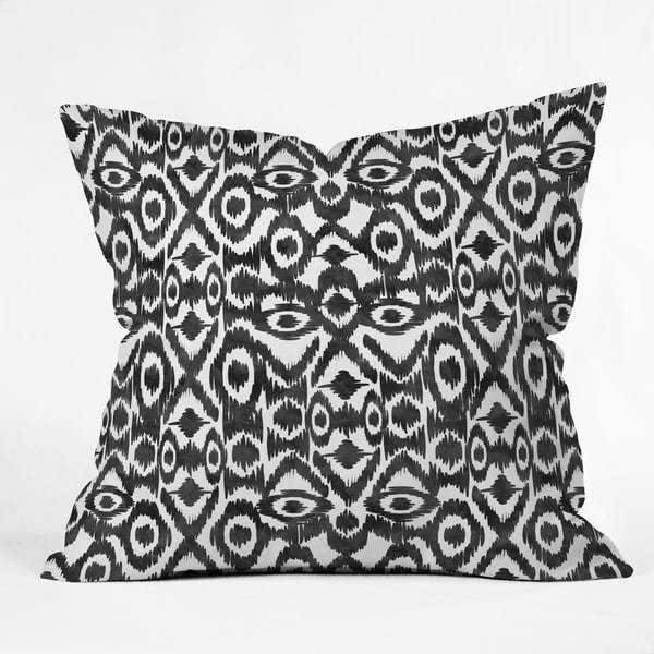 Zoe Wodarz Multicolored Polyester Ikat Jungle-themed Throw Pillow