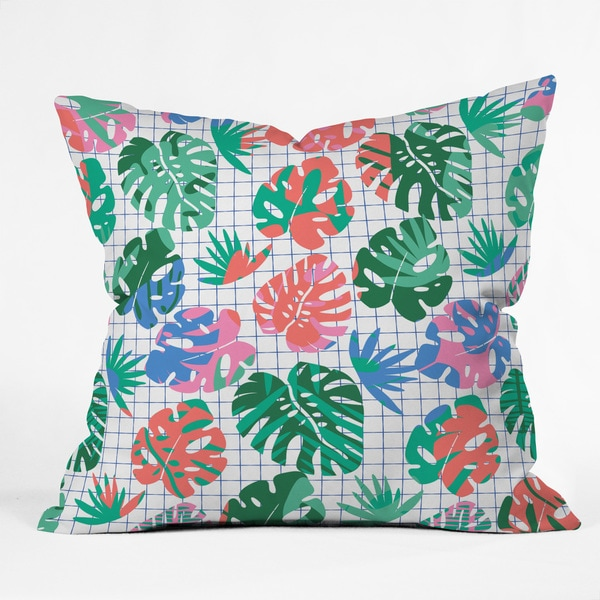 Zoe Wodarz Tropical Grid Polyester Throw Pillow