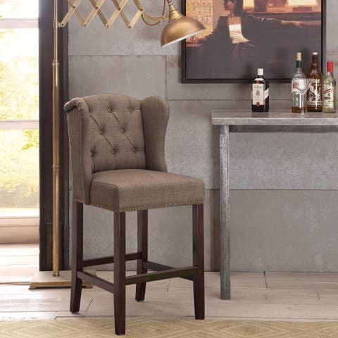 Madison Park Lydia Taupe Tufted Wing Counter Stool