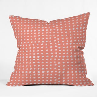 Deny Designs Leah Flores Peach Scribble Dots Polyester Throw Pillow