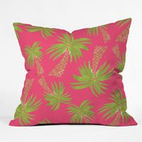 Allyson Johnson Summer Palm Trees Pink Polyester Throw Pillow