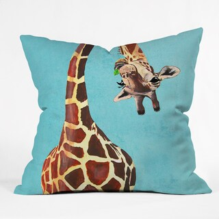 Coco De Paris Giraffe With Green Leaf Throw Pillow