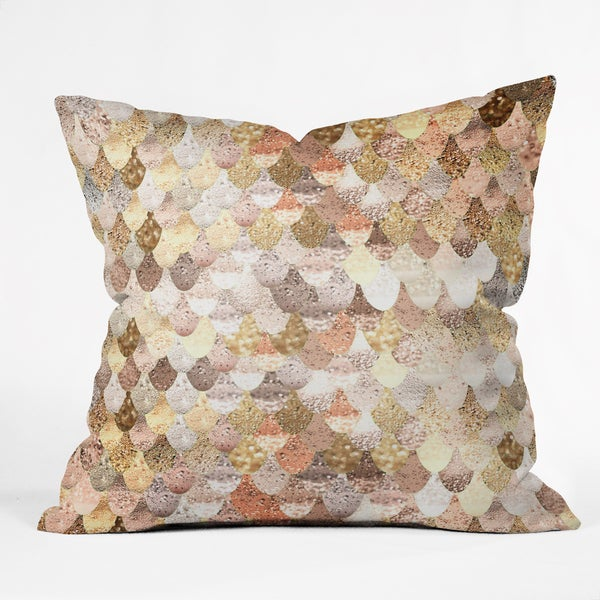 Deny Designs Monika Strigel Really Mermaid Gold Synthetic Cover/Polyester Fill Throw Pillow