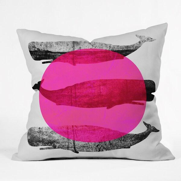Deny Design Elisabeth Fredriksson Whales Pink Polyester Throw Pillow
