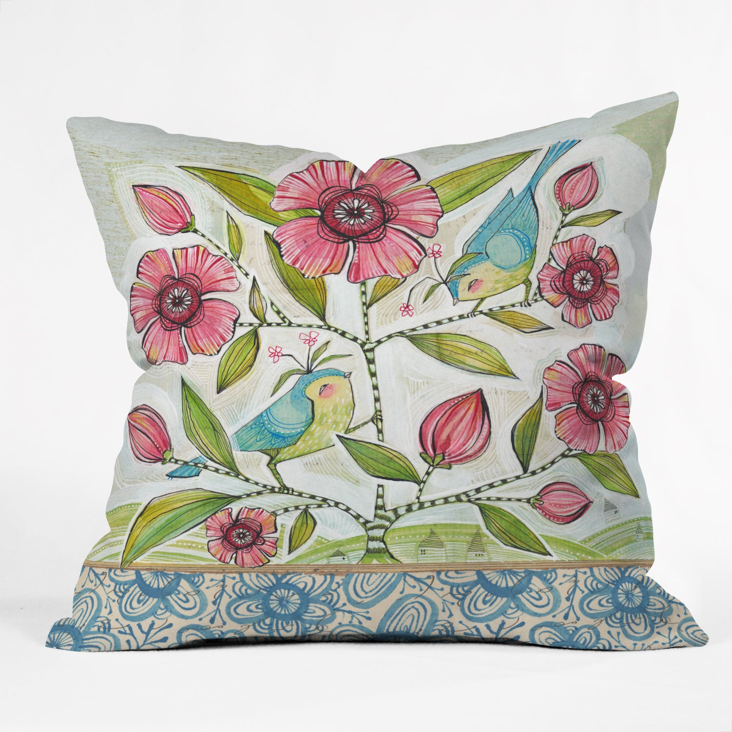 Cori Dantini Blue Birds of Happiness Multicolor Polyester Throw Pillow (Large - 20 x 20)
