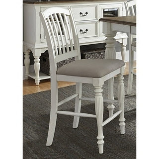 Cumberland Creek Slat Back White Counter Height Barstool