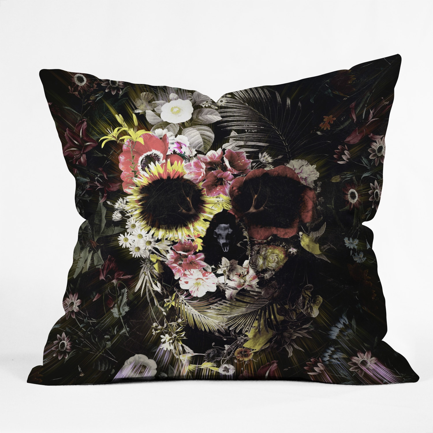 Ali Gulec Garden Skull Multicolor Polyester Throw Pillow (Oversized - 26 x 26)