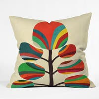 Deny Designs Budi Kwan Whimsical Colorful Tree Throw Pillow