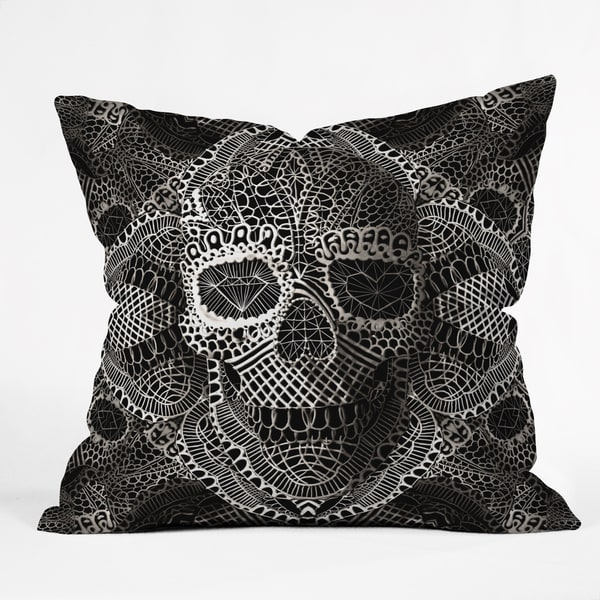 Deny Designs Ali Gulec Lace Skull Throw Pillow