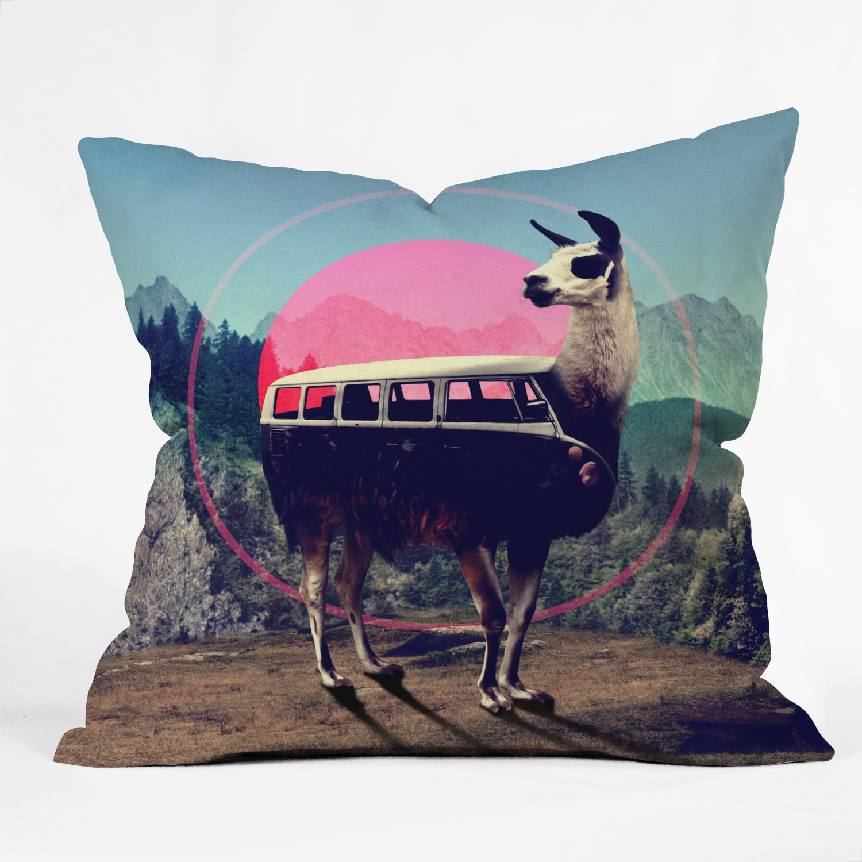 Ali Gulec Llama Van Polyester Throw Pillow (Medium - 16 x 16)