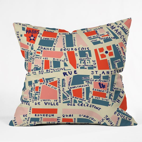 Deny Designs Holli Zollinger Paris Map Blue Throw Pillow