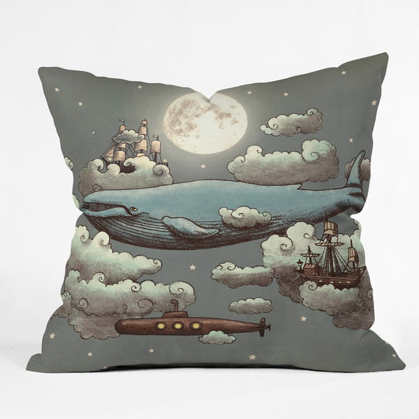 Terry Fan Ocean Meets Sky Multicolor Polyester Throw Pillow in 3 Sizes