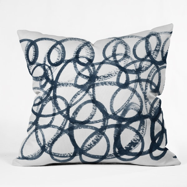 Deny Designs Social Proper Navy Swirls White and Navy Polyester 26 x 26, 20 x 20, 16 x 16 Throw Pillow