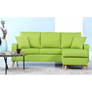 Mid-Century Modern Small Space Sectional Sofa with Reversible Chase