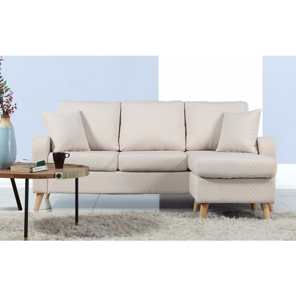 Mid-Century Modern Small Space Sectional Sofa with Reversible Chase - Free Shipping Today - Overstock.com - 19829864  sc 1 st  Overstock.com : modern small sectional sofa - Sectionals, Sofas & Couches