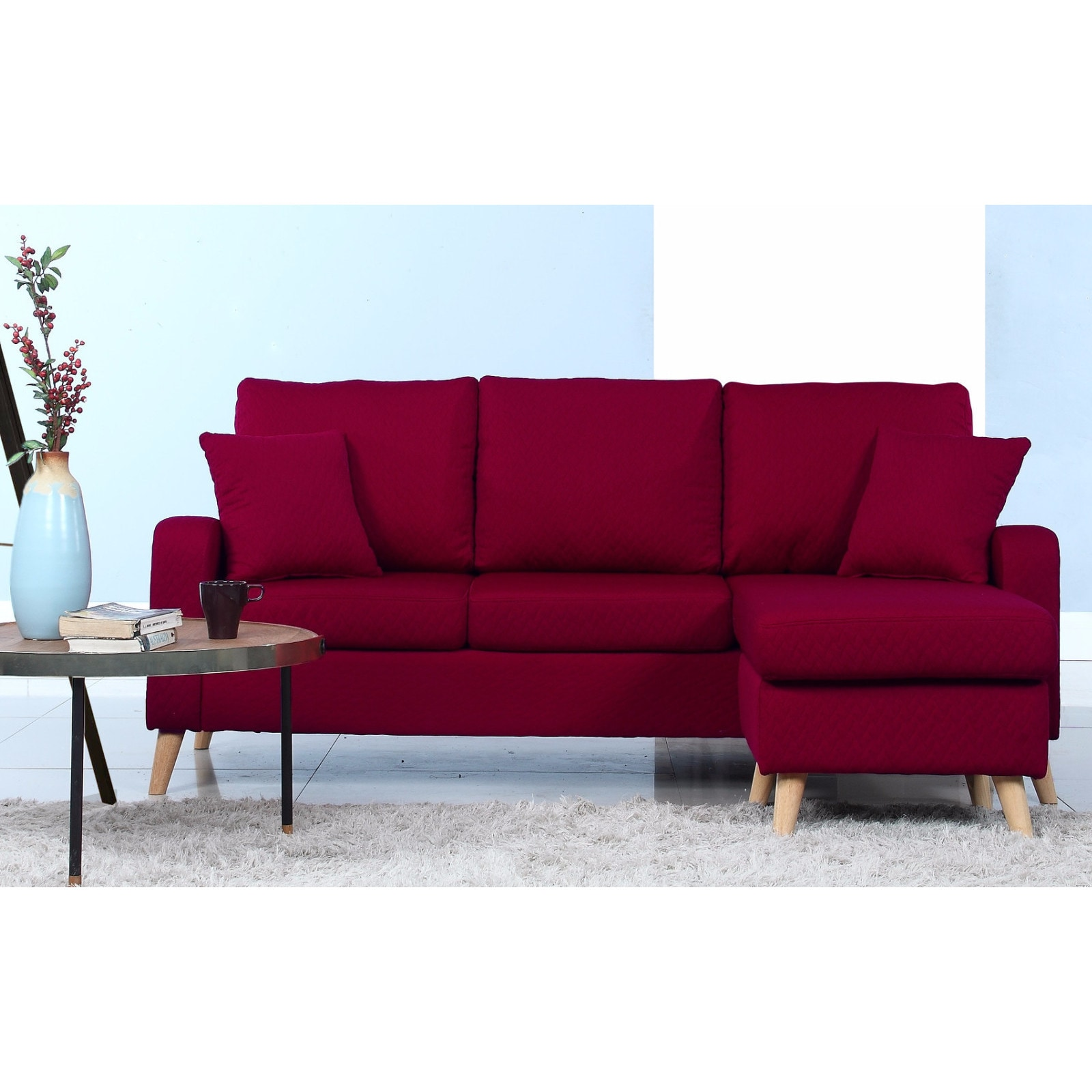 Madison Mid-Century Modern Small Space Sectional Sofa wit...