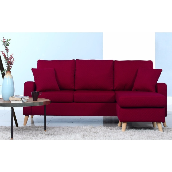 Mid-Century Modern Small Space Sectional Sofa with Reversible Chase - Free Shipping Today - Overstock.com - 19829864  sc 1 st  Overstock.com : small red sectional sofa - Sectionals, Sofas & Couches
