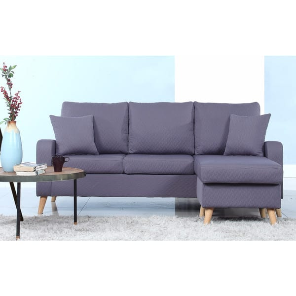 Shop Mid-Century Modern Small Space Sectional Sofa with ...
