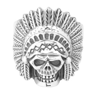 Native American Indian Chief Skull .925 Silver Ring (Thailand)