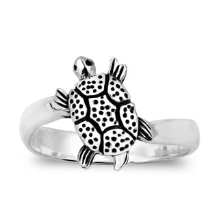 Adorable Tilted Turtle Sterling Silver Ring (Thailand)