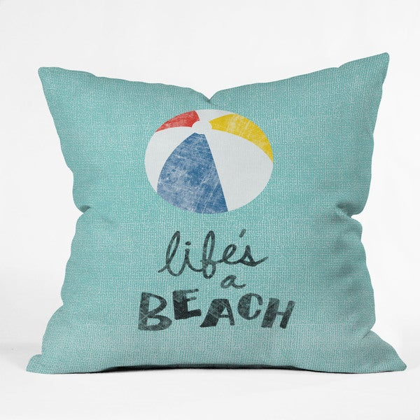 Nick Nelson Life's A Beach Polyester Throw Pillow