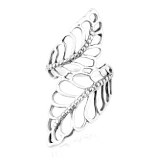 Handmade Statement Natural Leaves Wide Wrap Sterling Silver Ring (Thailand)