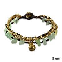 Handmade Multi Strand Brass Beaded Jingle Bell Bracelet (Thailand)