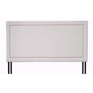 Classic Deluxe Tufted Grey Fabric Headboard with Nailhead Trim