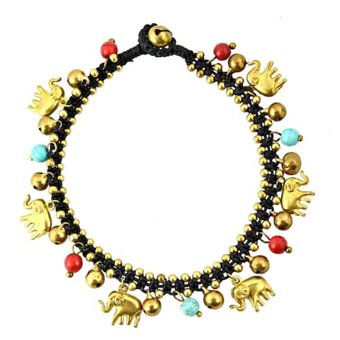 Handmade Elephant Caravan with Natural Stone Beads Brass Anklet (Thailand)