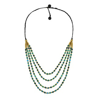 Gorgeous Natural Stone Four Layers Handmade Necklace (Thailand)