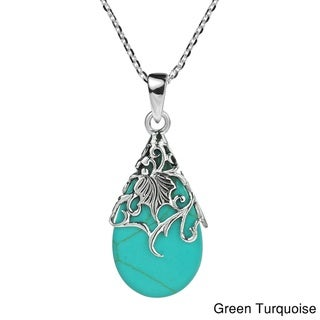 Floral Vine Adorned Teardrop Stone .925 Silver Necklace (Thailand)