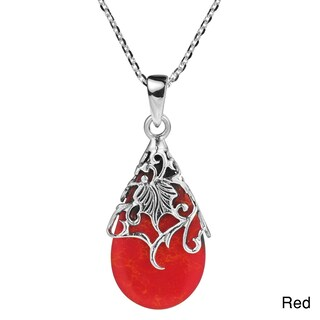 Handmade Floral Vine Adorned Teardrop Stone .925 Silver Necklace (Thailand)