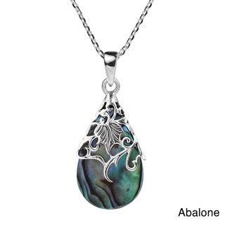 Handmade Floral Vine Ornate Teardrop Stone Sterling Silver Pendant Necklace (Thailand)