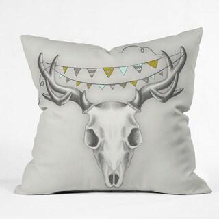 DENY Designs Wesley Animal Skull Throw Pillow